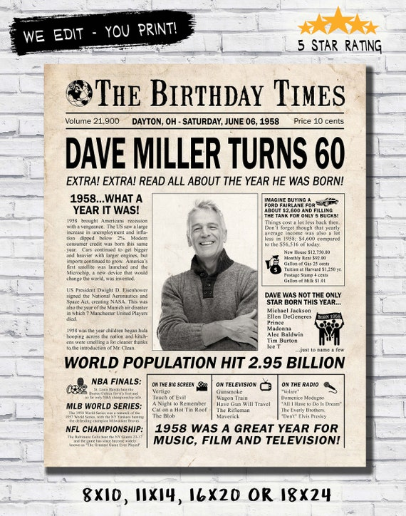 60th Birthday Newspaper Poster