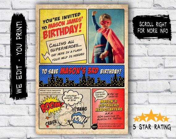 VINTAGE Superhero Birthday Invitation Party Invite