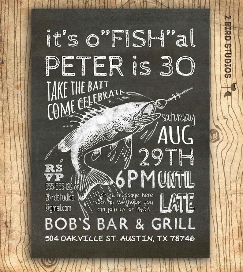 Fishing Invitation 30th Birthday 40th 50th