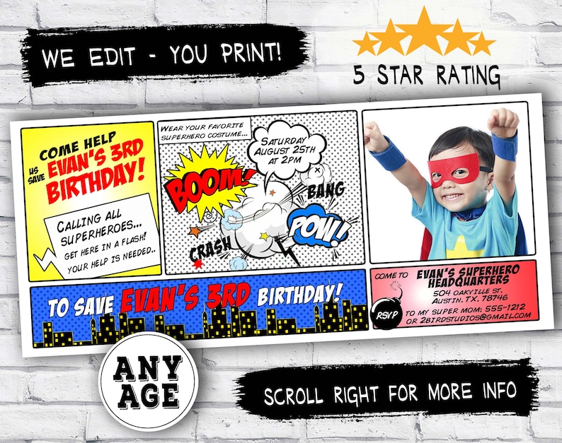 picture relating to Printable Superhero Invitations known as Superhero Birthday Invitation for boys / ladies - Printable superhero invitation with photograph - Electronic tremendous hero invitations with envision