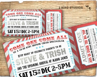 Circus baby shower invitation - Carnival baby shower- gender neutral boy girl-  DIY Circus ticket coed baby shower - Silver red aqua