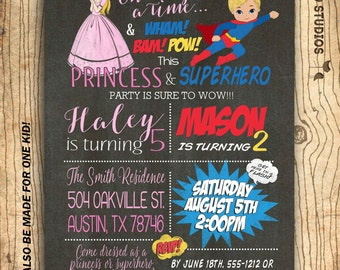 Superhero princess party invitation - Twins birthday invitation - Superheroes & princess invitation for siblings - Chalkboard you print