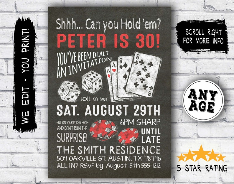 Surprise 30th Birthday Invitation Casino Theme Party