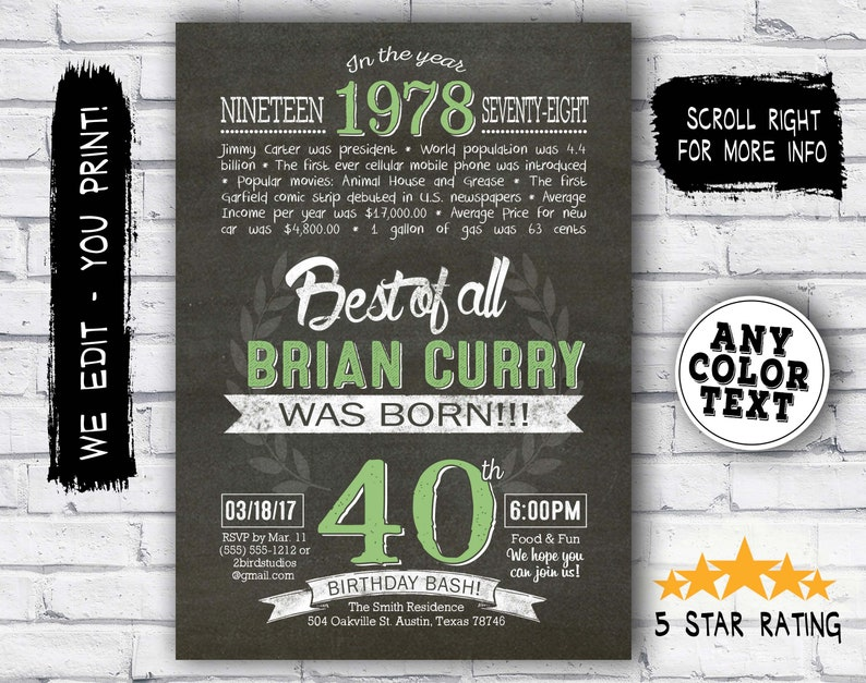40th Birthday Invitation Surprise Invite