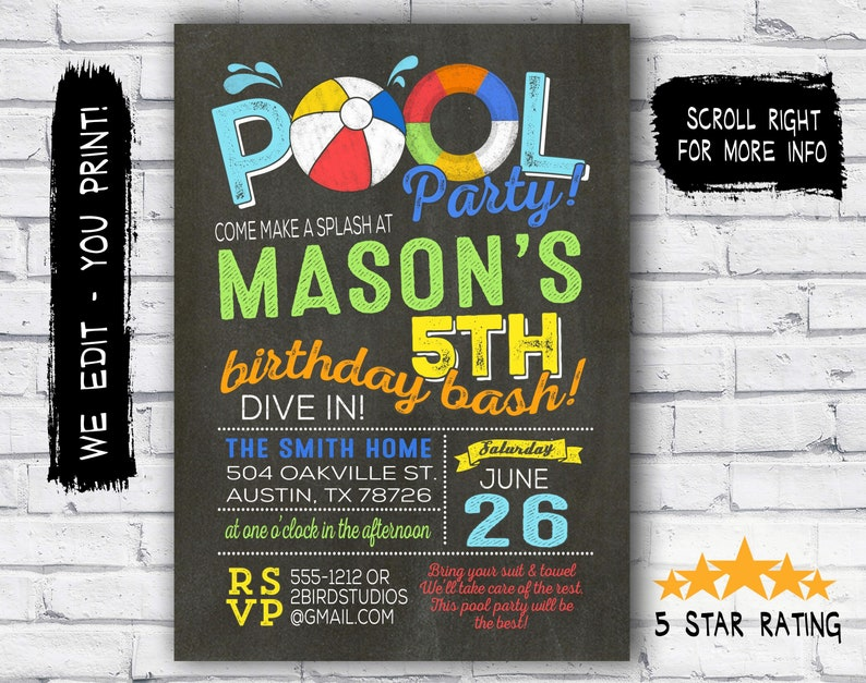 Pool Party Invitation Summer Birthday For