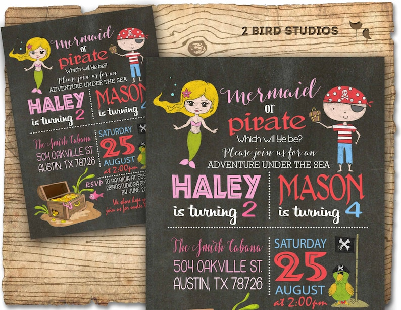Mermaid Pirate Invitation Sibling Birthday