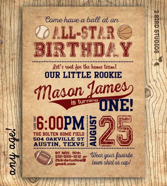 Sports Birthday Party Invitation Invite 1st