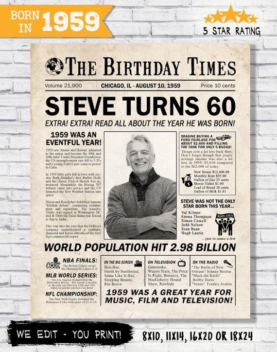 60th Birthday Newspaper Poster