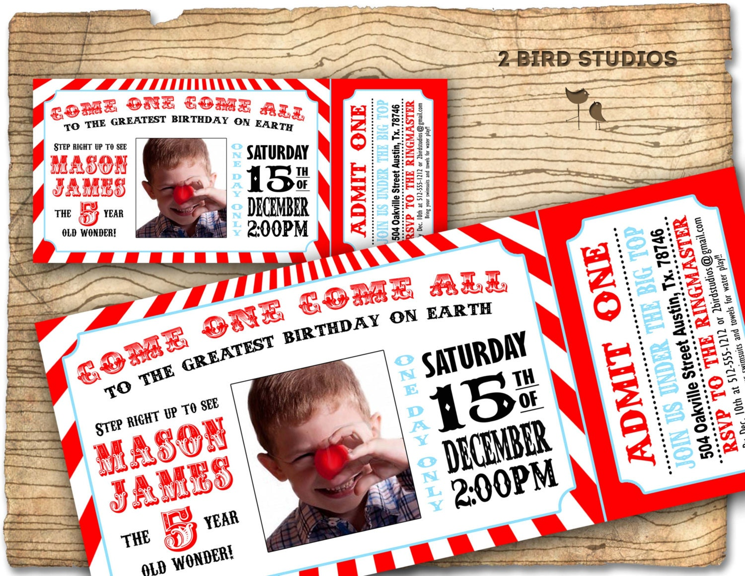 Circus Invitation Vintage Birthday Invite