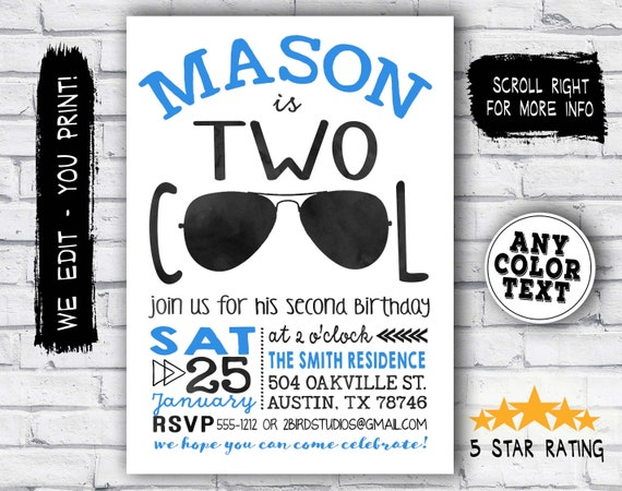 Im Two Lets Party Shirt Birthday Invitation
