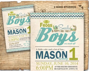 Boy birthday invitation - frogs snails puppy dog tails birthday party invite - first birthday invitation - DIY printable invitation