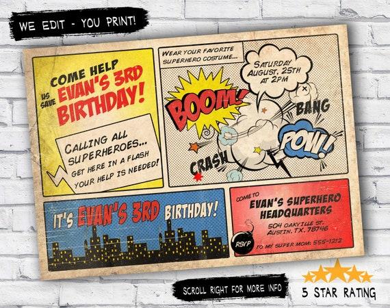 Superhero Invitation Vintage Superhero Birthday Invite Diy Etsy