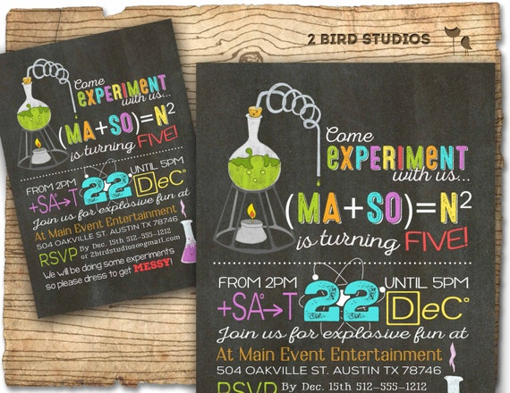 science birthday party invitation science birthday etsy