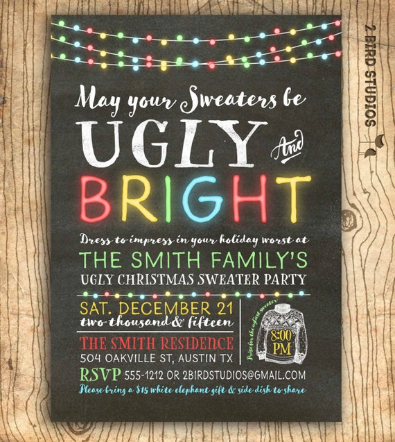 Ugly Christmas Sweater Party Invite.Ugly Christmas Sweater Invitation Ugly Sweater Party Invitation Chalkboard Ugly Sweater Invitation Christmas Party Invite