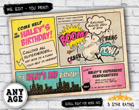 superhero invitation vintage superhero birthday invitation diy