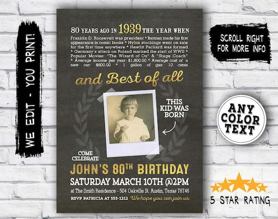 80th Birthday INVITATION For Men