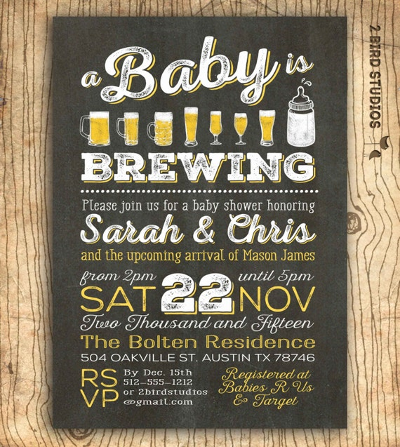 A Baby Is Brewing Coed Baby Shower Invitation Beer Baby Etsy