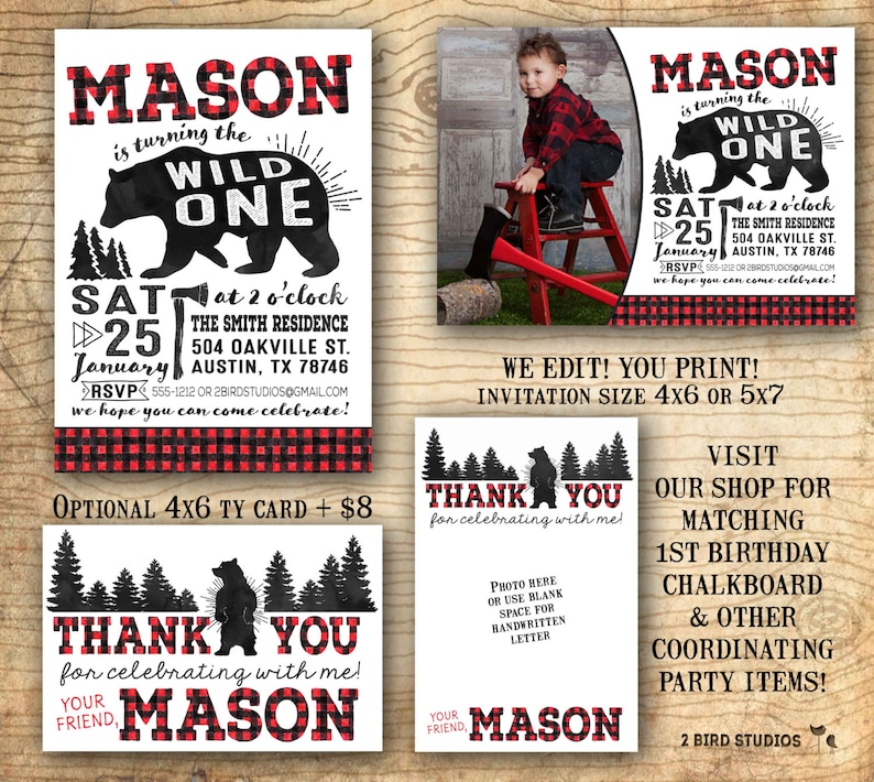 Lumberjack Birthday Invitation Wild One