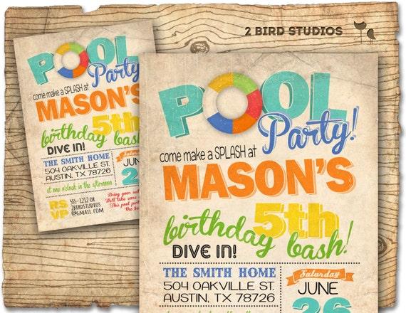 Pool Party Birthday Invitation Summer Birthday Invitation For Pool