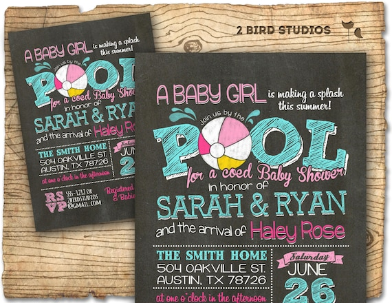 Pool party baby shower invitation summer baby shower coed etsy image 0 filmwisefo