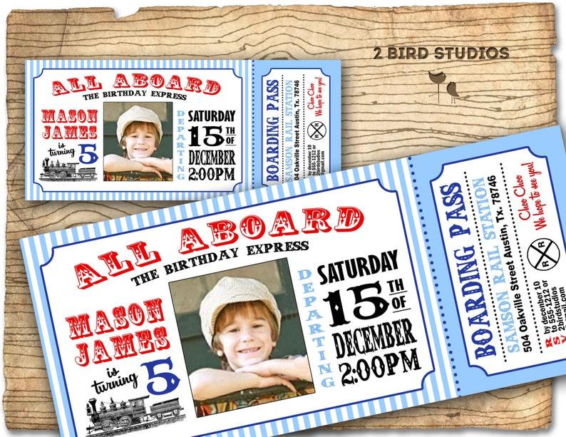 Train Invitation Vintage Birthday Invite