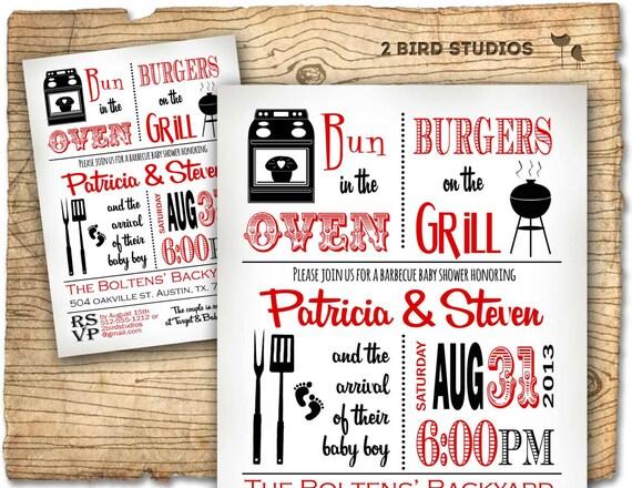 baby shower invitation boy baby shower bbq barbecue invite etsy