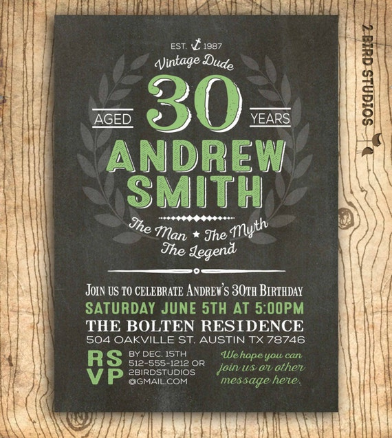 30th Birthday Invitation For Men