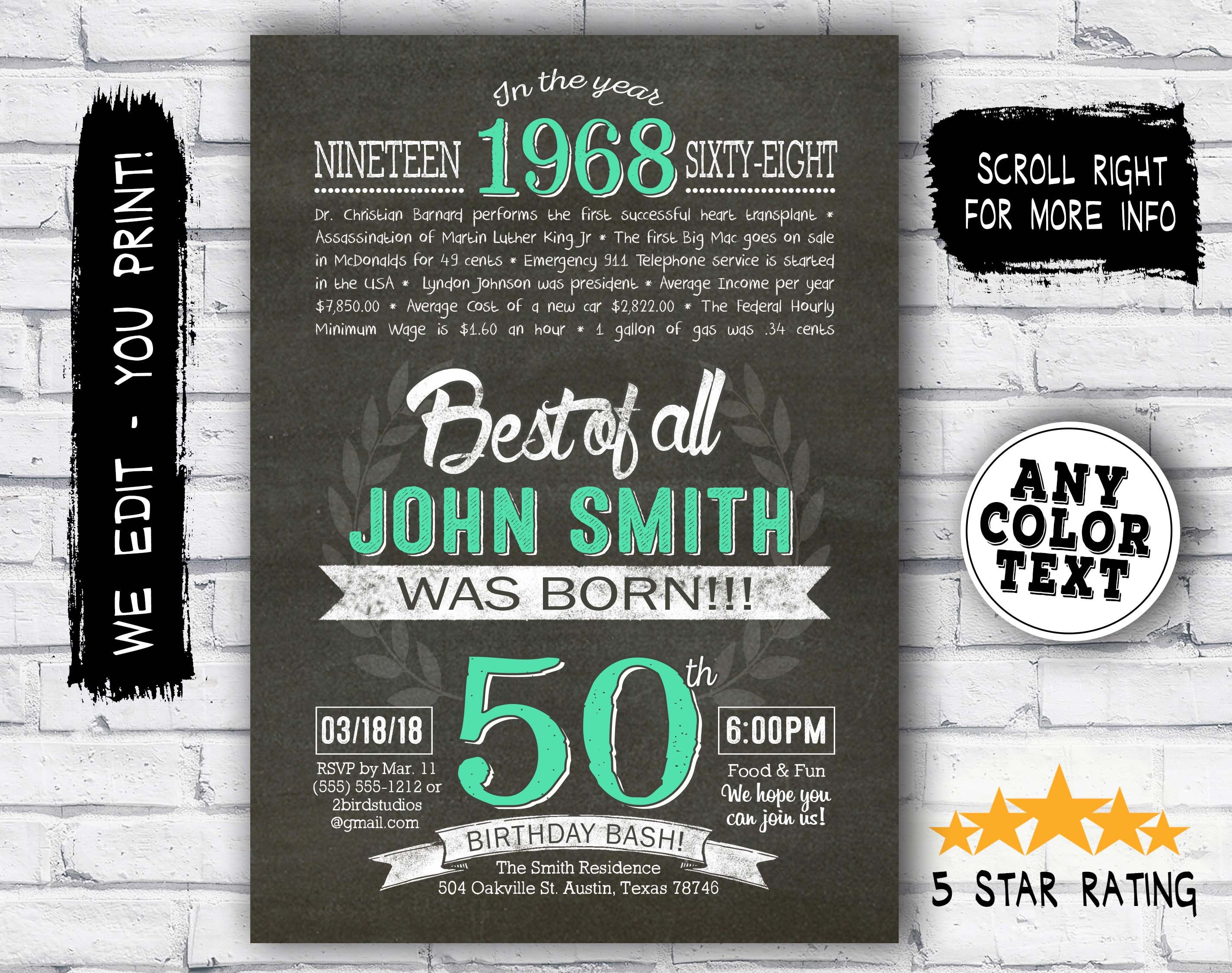 50th Birthday Invitation Surprise Invite