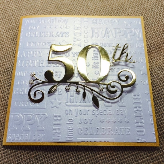 50th Birthday Card Handmade Golden Birthday Card Happy
