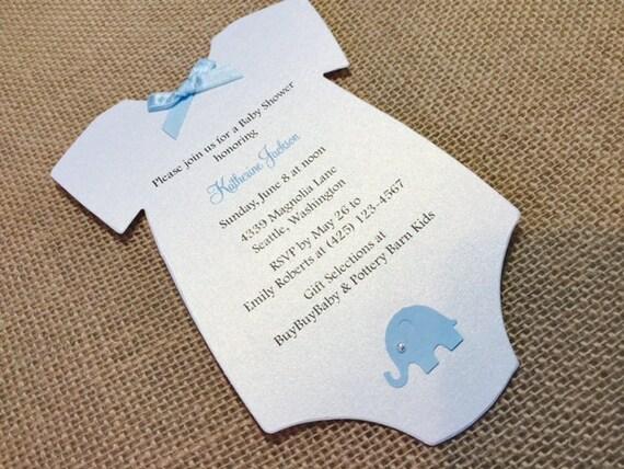 10 Baby Elephant Baby Shower Invites Baby Onesie Shower Etsy