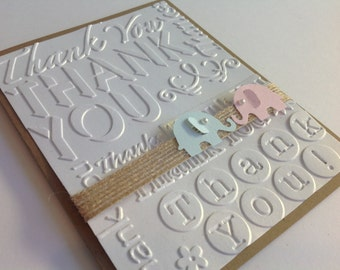 10 3-d Handmade Baby Thank You Cards, Twin or Triplet Thank You Cards, Baby Elephant with Elegant Pearl, Option to Print Inside