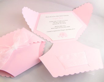 10 Elephant Diaper Baby Shower Invitation, Gender Reveal, Thank You, Or New Baby Announcement Cards