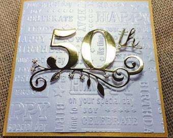 50th Birthday Card, Handmade Golden Birthday Card, Happy Birthday Card, or 50th Anniversary Card, Gold and Pearl