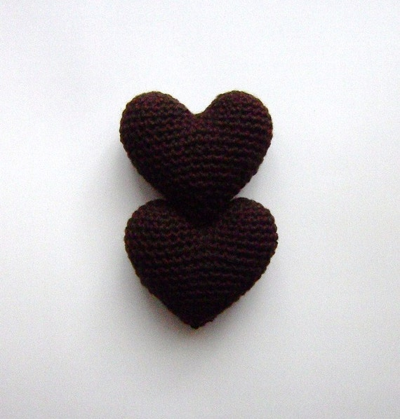 Amigurumi Häkeln bittere Schokolade Herz 2-er Set Cake | Etsy