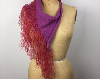 Purple scarf with ruby fringe