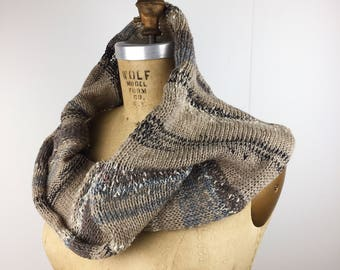 Warm taupe and slate scarf/ knit necklace