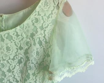 Vintage mint green sheer lace dress, size s