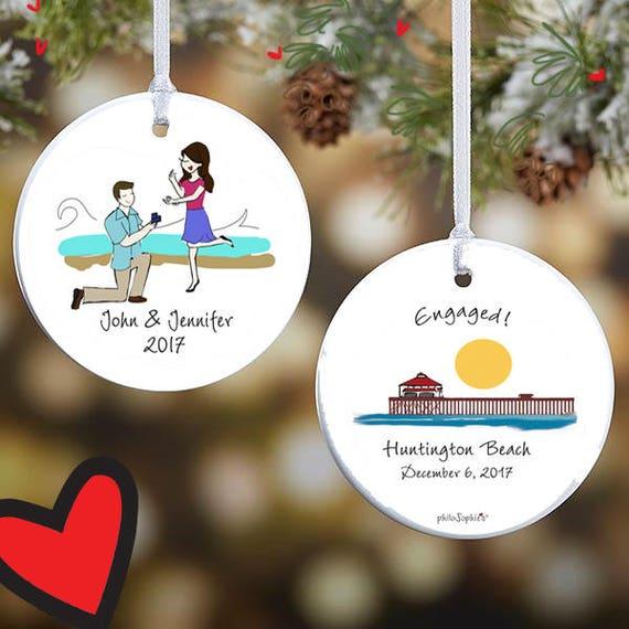 Tree Decorations Silo Engagement,pier Custom Christmas Engagement Decorations engaged Engaged Christmas Couple Ornament Home Decor
