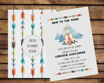"""Baby Shower """"New to the Tribe"""" Vertical Flat Invitation - 5""""x7"""""""