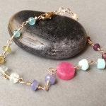 Pink Lilac Aqua Pastel Gemstone Gold Bracelet Gold Filled Semiprecious Gemstone Rosary Chain Modern Minimalist Bracelet Tami Lopez Designs