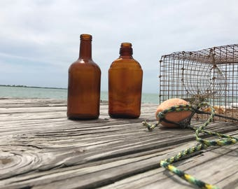 Vintage Brown Bottles.TwoBrown Glass,Amber,Vase,Repurpose,Collect.