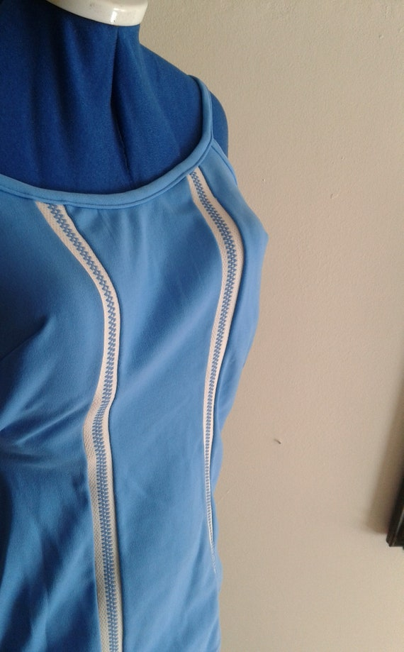 Vintage blue sheath swimsuit, 1950s / 1960s, size… - image 4