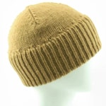 Sale! 30% off womans double cuffed light brown wool beanie