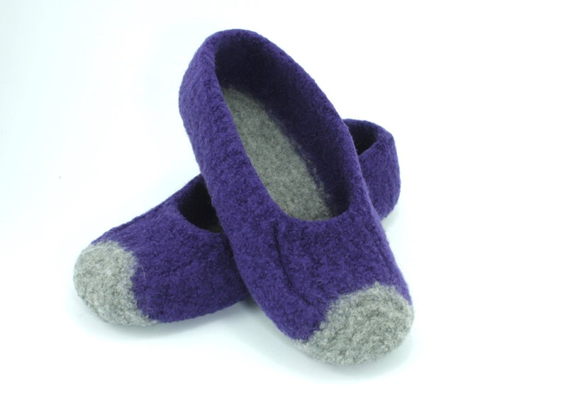 Womens MADE TO ORDER felted wool slippers Loafer Wool image 0