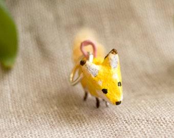 Tiny Fox charm,  Handmade painted oven-bake clay critter charm
