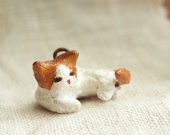white and brown cat charm for necklace, pendant, brooch accessories. Cute miniature one of a kind jewelry gift.  Handcrafted with love.