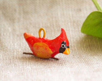 Red Cardinal bird charm for necklace, bracelet, pendant, brooch accessories. Cute one of a kind jewelry gift.  Handcrafted with love.
