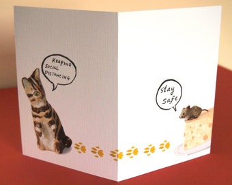 Social Distance card, quirky stay safe keep cat and mouse