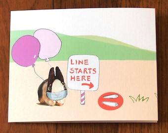 Social Distance birthday card, celebrate stay safe bunnies