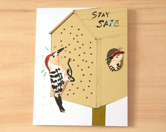 Social Distance card, greeting from home, cute  woodpecker stay safe and sane